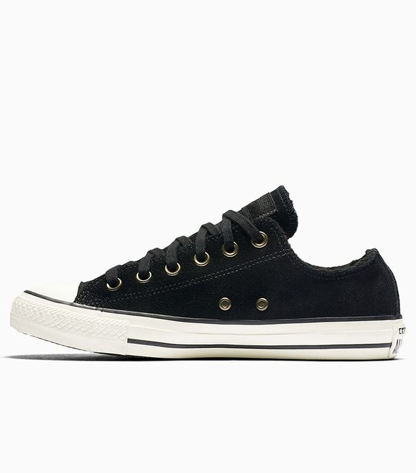Converse Chuck Taylor All-Star Suede and Faux Shearling Low Top Sneakers