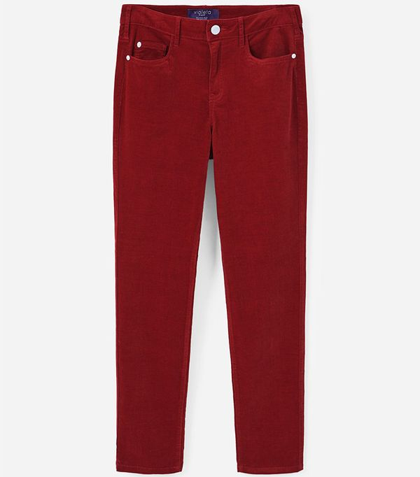 Violeta by Mango Slim-Fit Corduroy Trousers