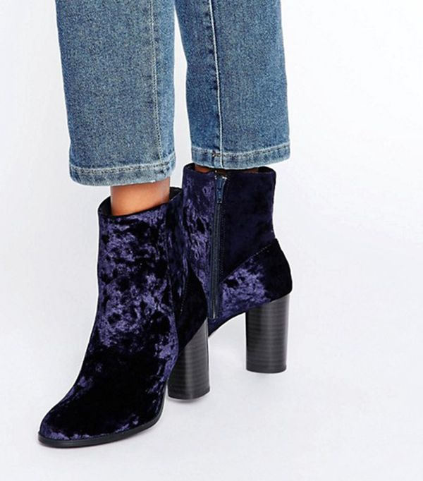 Velvet High Ankle Boots by New Look