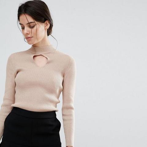 Keyhole Ribbed Sweater