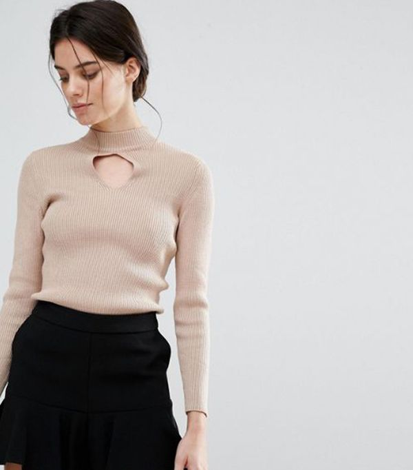 Keyhole Ribbed Sweater  by New Look