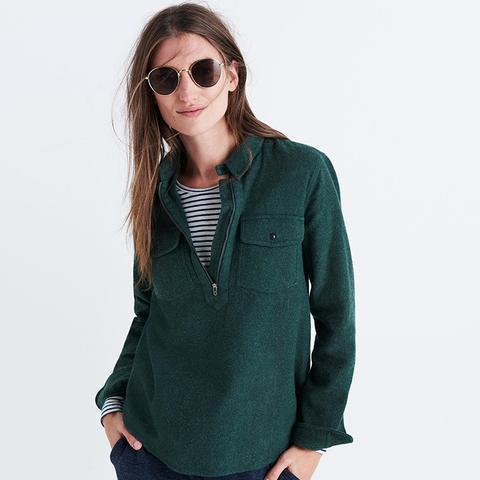 Flannel Zip-Front Popover Shirt