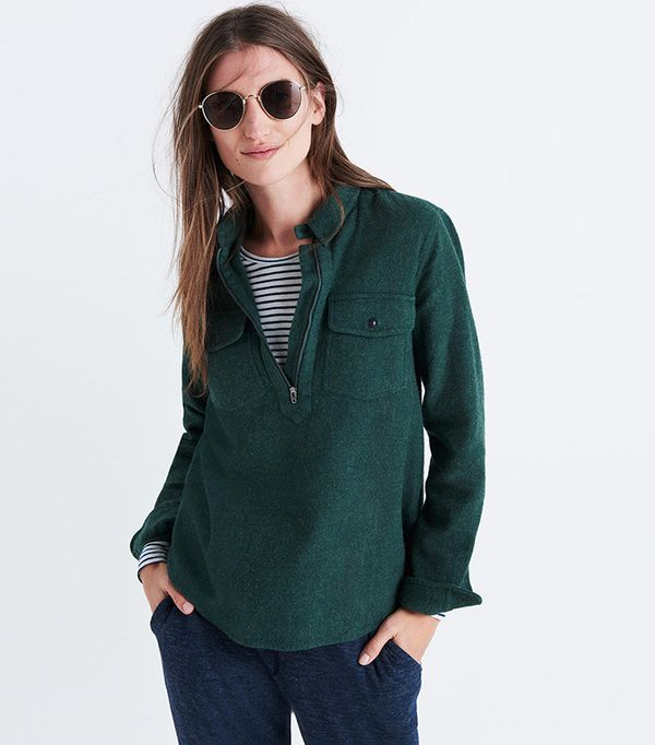 Flannel Zip-Front Popover Shirt by Madewell