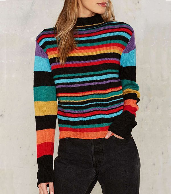 Rainbows Striped Sweater by Nasty Gal