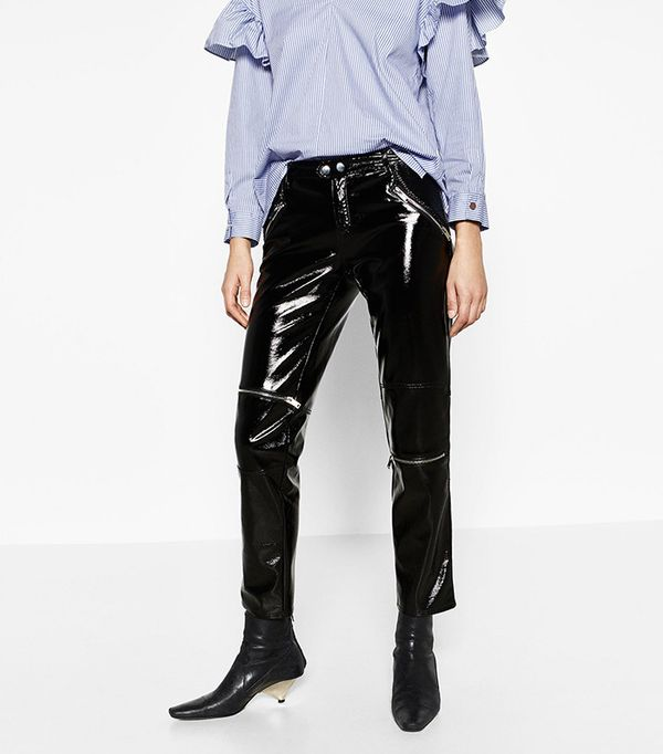 Patent Finish Biker Trousers by Zara