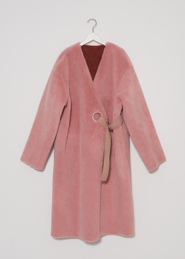 Frankie Shop Pink Faux Fur Coat