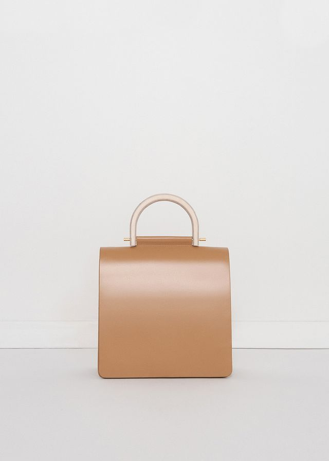 No Promise Beige Bag With Wooden Handle