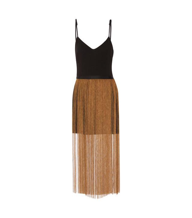 Haney Fringed Crepe Mini Dress