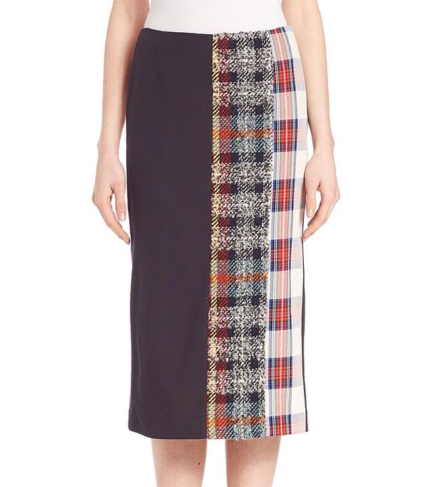 Acne Studios Mixed Plaid Cotton Midi Skirt