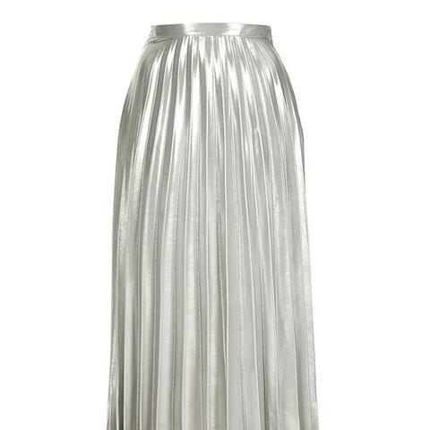 Metallic Pleat Ankle Grazer Skirt