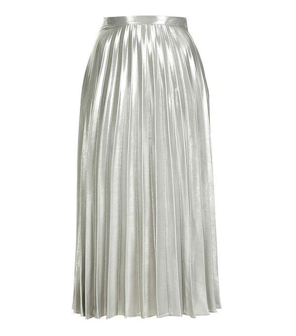 Topshop Metallic Pleat Ankle Grazer Skirt