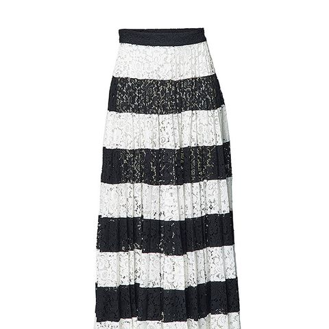 Patchwork Pleated Skirt