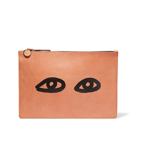Clare V. Margot Printed Leather Clutch