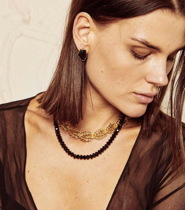 The Mercantile Beaded Black Necklace