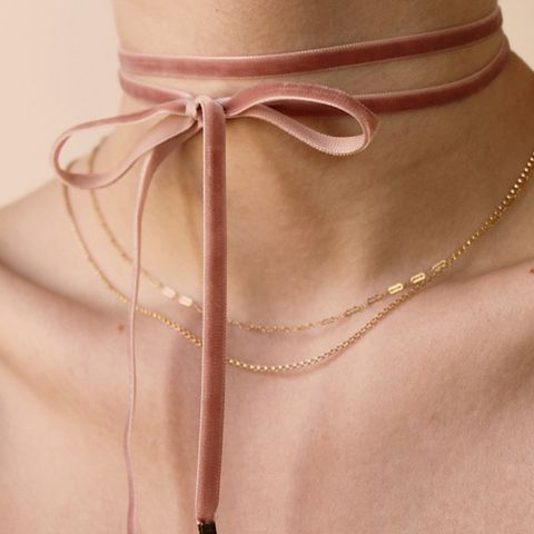 Blush Velvet Double Tie Choker
