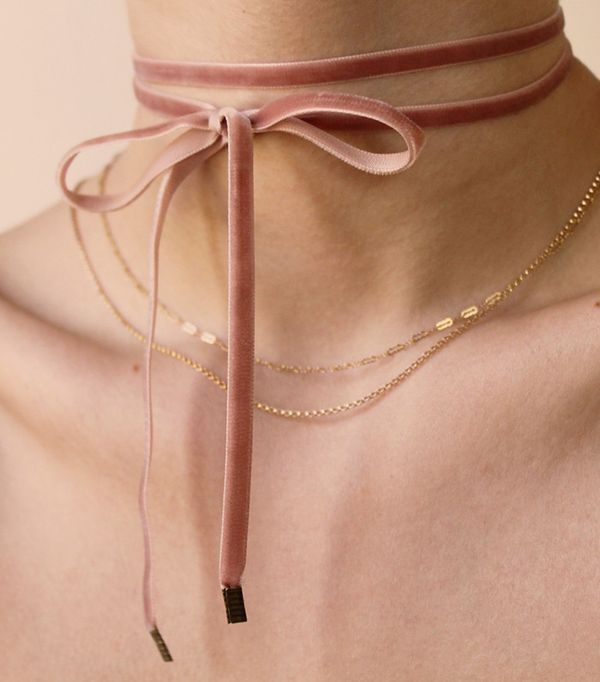 Ventrone Chronicles Blush Velvet Double Tie Choker