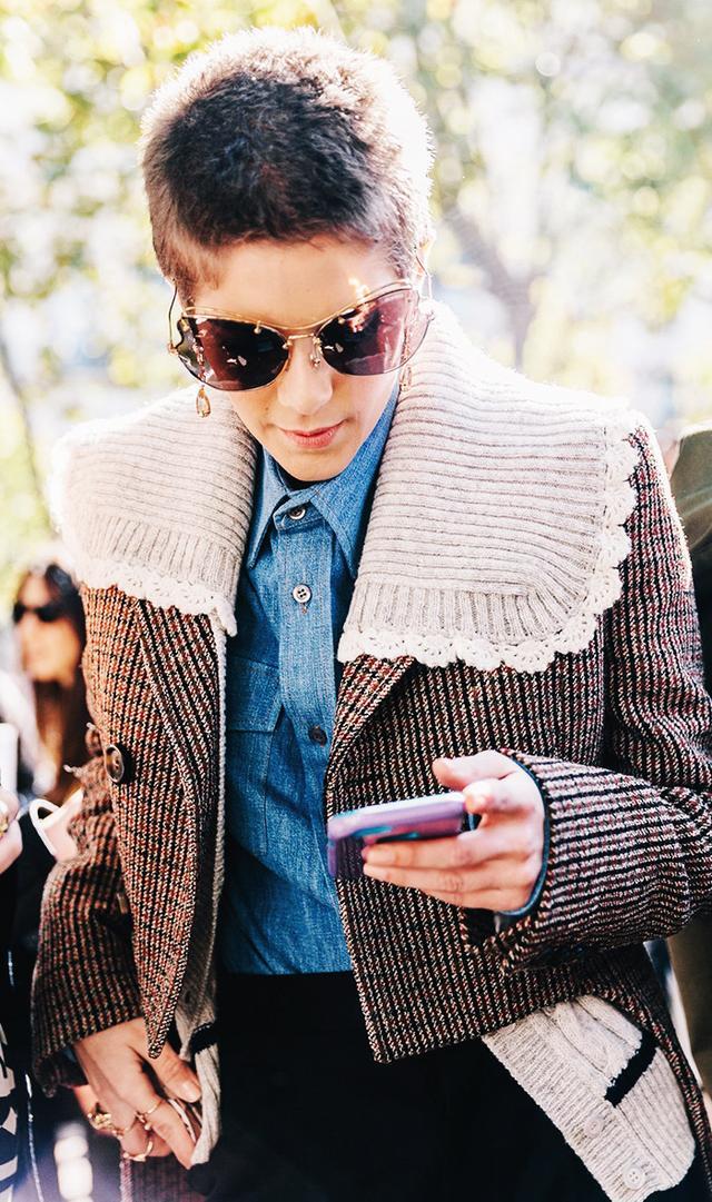 Paris Fashion Week SS17 Street style in denim shirt and jacket