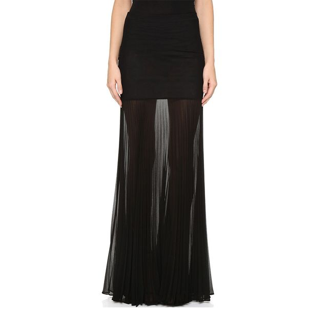 Hervé Leger Maxi Skirt With Sheer Pleated Extension