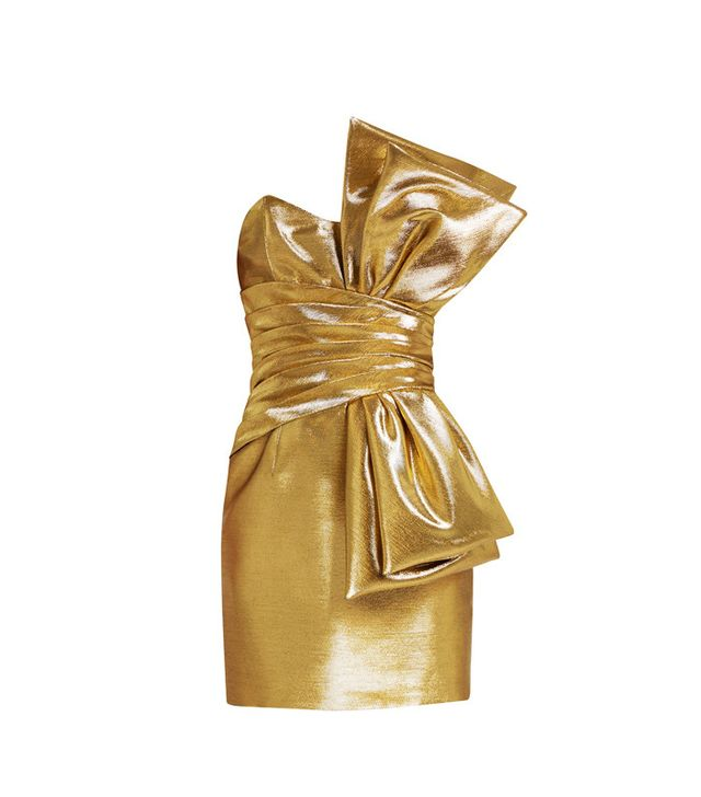 Saint Laurent Strapless Lamé Bow Dress