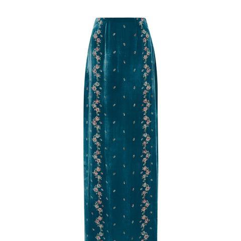Embroidered Velvet Skirt