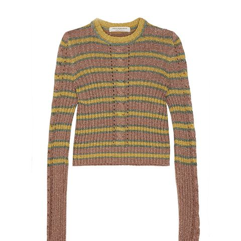 Metallic Striped Cable-Knit Sweater