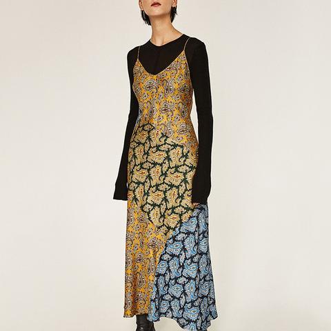 Long Studio Patchwork Paisley Slip Dress