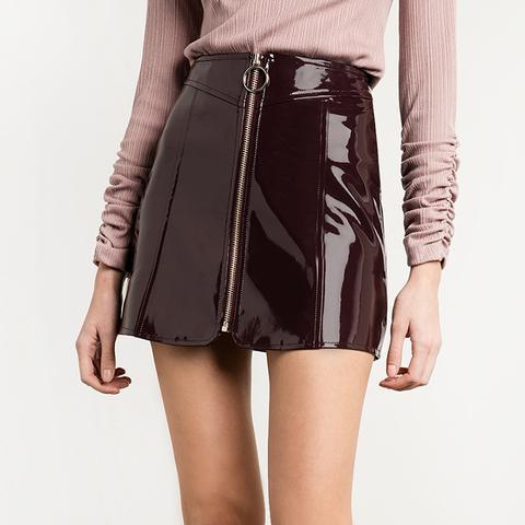 Burgundy Patent Circle Ring Zipper Skirt