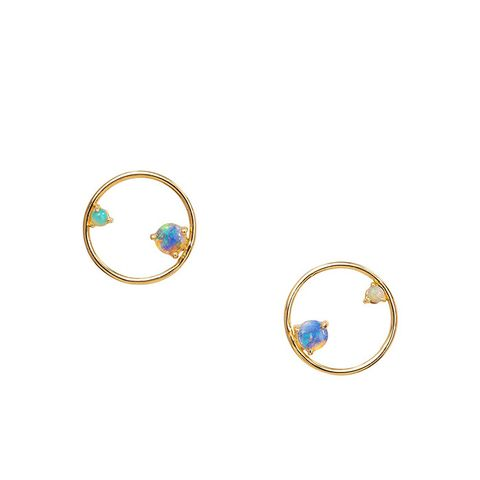 Opal Circle Earrings