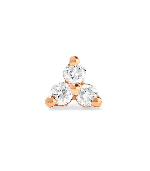 Maria Tash Tiny 14-Karat Rose Gold Diamond Earring