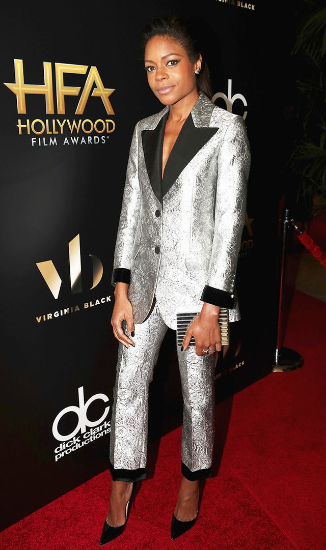 On Naomie Harris: Gucci suit; Lee Savage clutch; Christian Louboutin pumps.