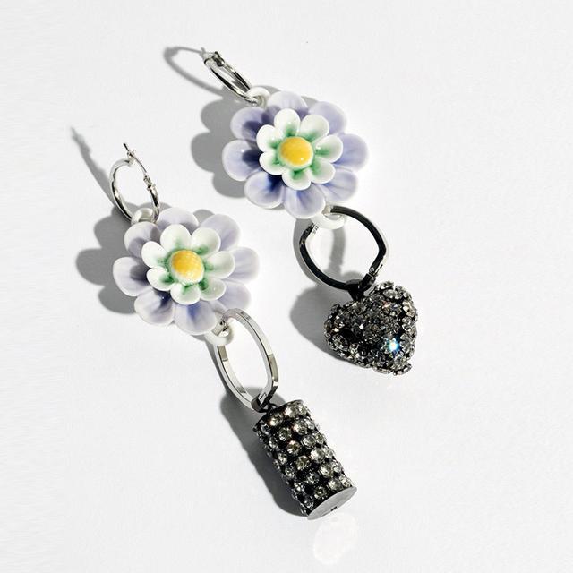 Double Disco Mauve Floral Earrings