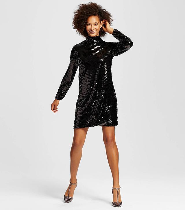Who What Wear Sequin Mock Mini Dress