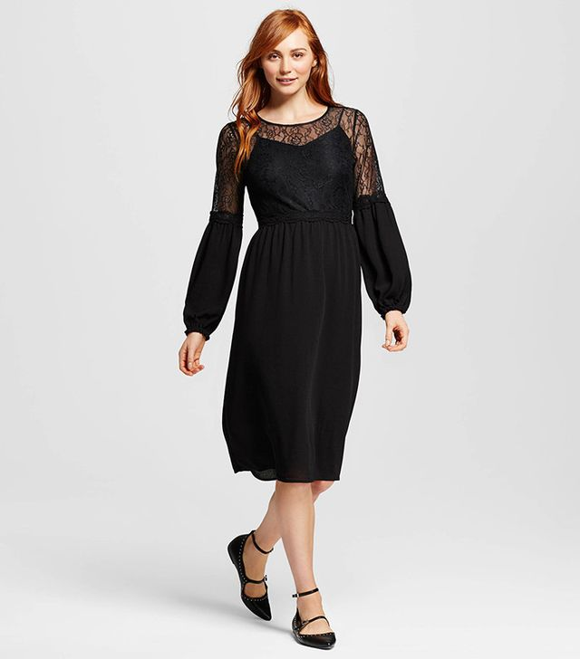 Who What Wear Lace Mix Long Sleeve Midi Dress