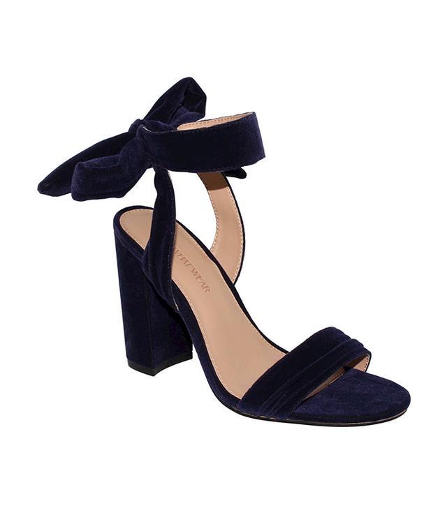 Who What Wear Michaela Velvet Ankle Tie Block Heel