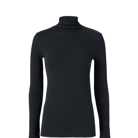 Black Split Sleeve Turtleneck Black