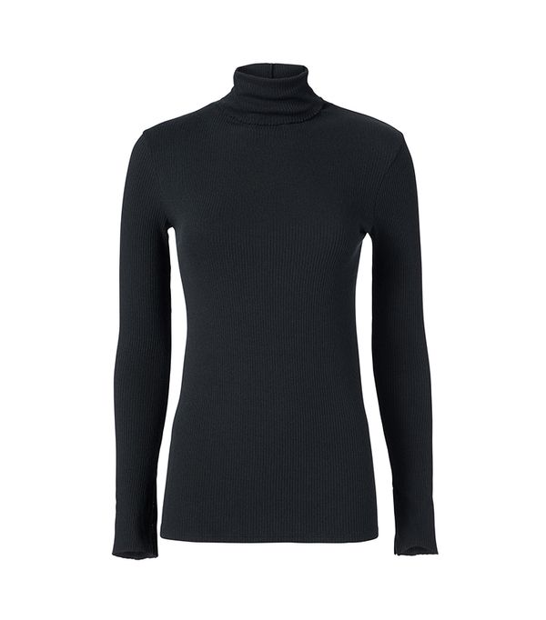 Enza Costa Black Split Sleeve Turtleneck Black L