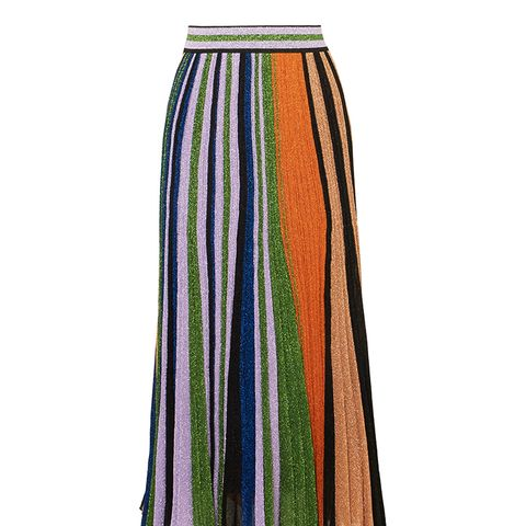 Pleated Metallic Stretch-Knit Maxi Skirt