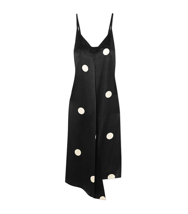 Dee Asymmetric Polka-dot Silk-satin Dress