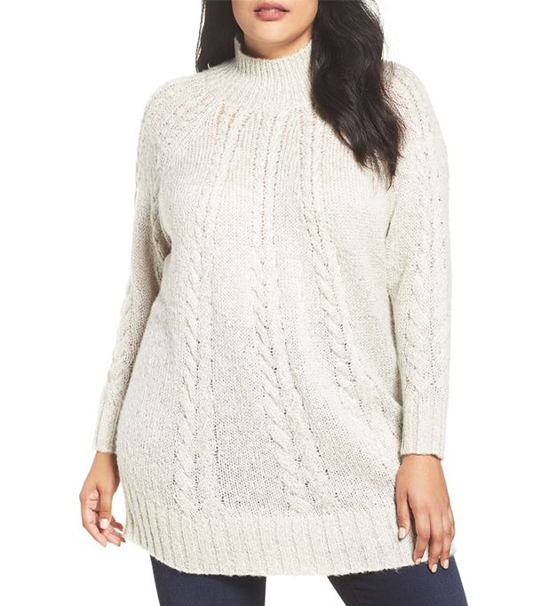 Plus Size Women's Caslon Cable Knit Tunic Sweater