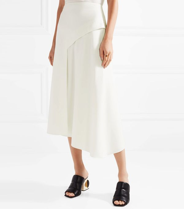 Asymmetric Twill Midi Skirt