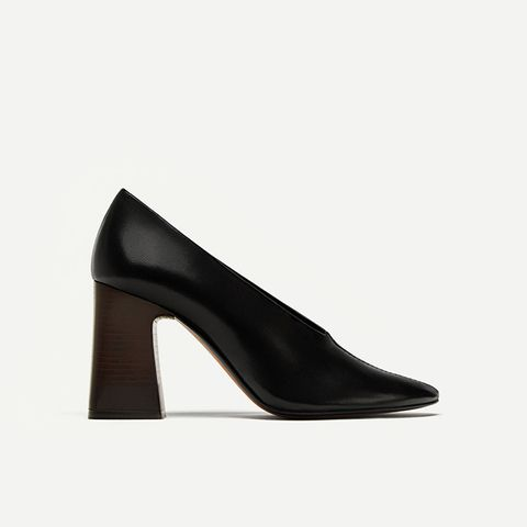 V Vamp Soft Leather Court Shoes Details