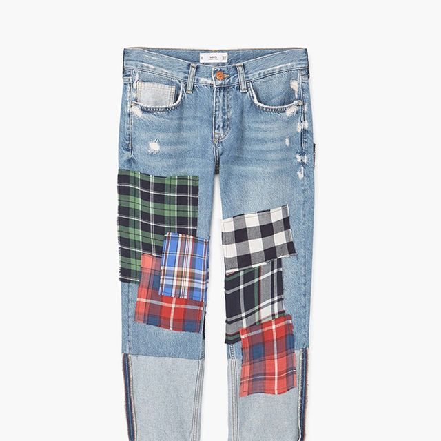 Mango Relaxed Crop Check Jeans