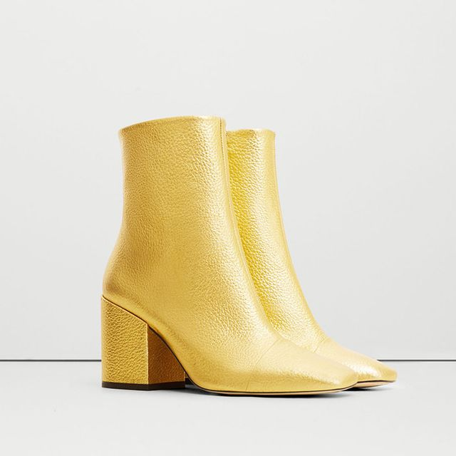 Mango Metallic Leather Ankle Boots
