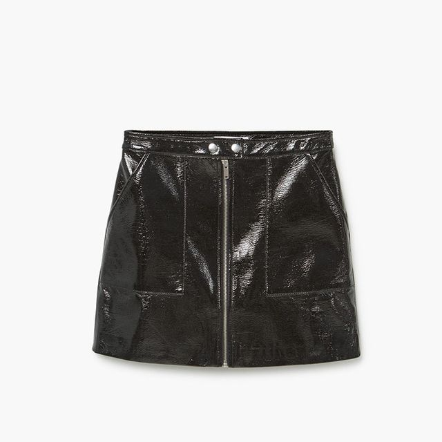 Mango zipped patent skirt