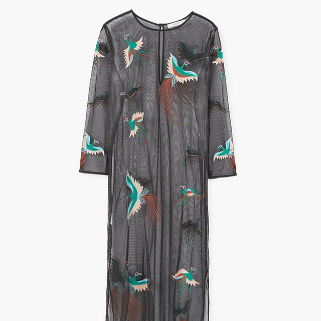 Mango Embroidered Tulle Dress