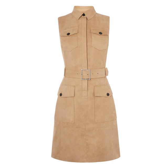 Karen Millen Faux-Suede Safari Dress