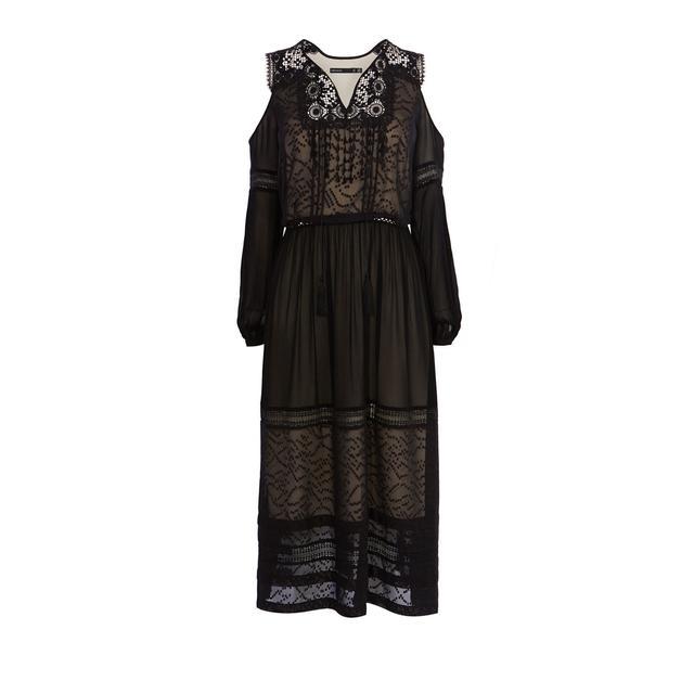 Karen Millen Black Mesh Cold Shoulder Dress
