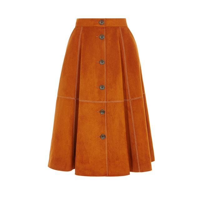 Karen Millen Button-Front Faux Suede Skirt