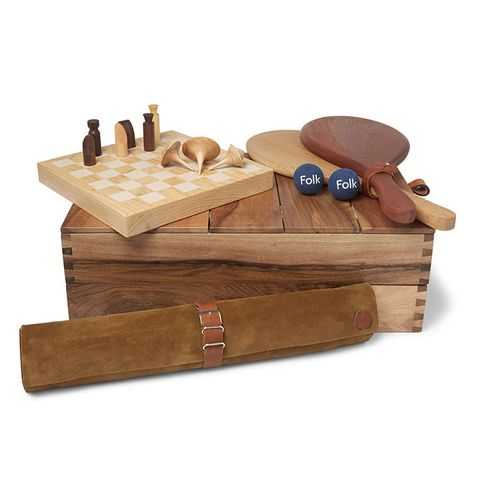 Wood and Suede Game Set
