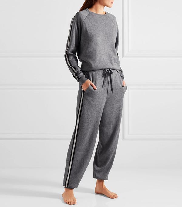 Olivia von Halle London Striped Silk-Blend Sweatshirt and Track Pant Set